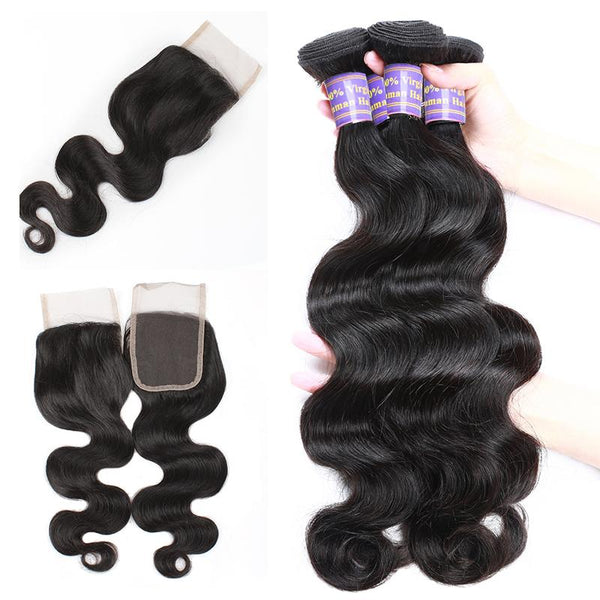 brazilian body wave human hair 3 bundles with lace closure