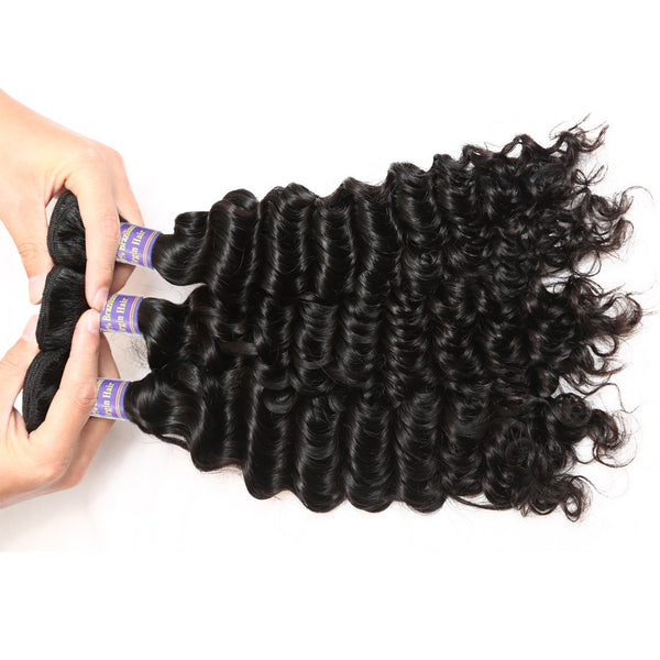Allove Hair Unprocessed Malaysian Deep Wave Human Hair 3 Bundles With Lace Closure
