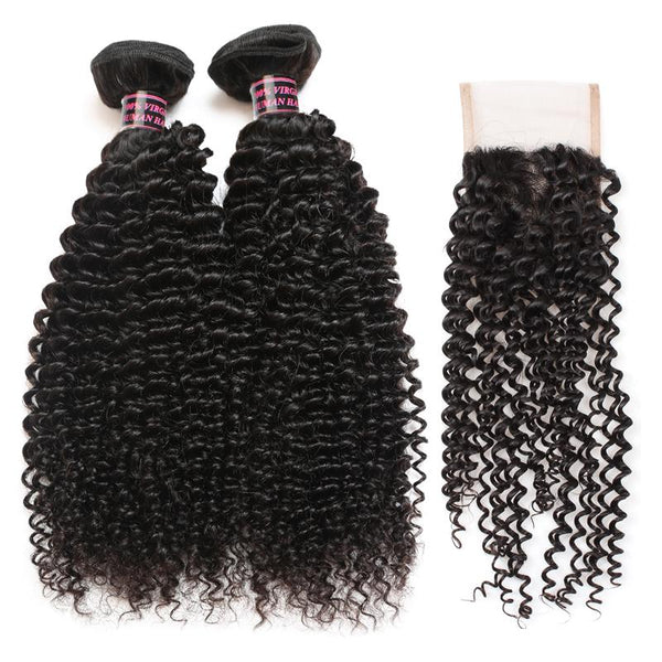 Easy Hair Peruvian Kinky Curly Human Hair 3 Bundles With Lace Closure - Easy Hair