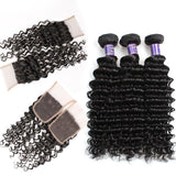 allove indian deep wave human hair 3 bundles with lace closure