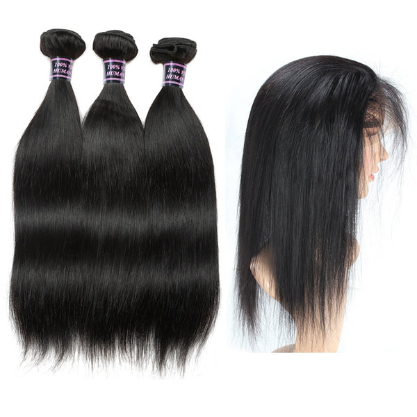 Malaysian Straight Human Hair 3 Bundles with 360 Lace Frontal Closure - Easy Hair