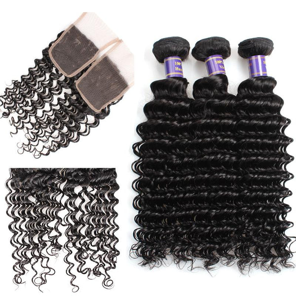 allove peruvian deep wave human hair 3 bundles with lace closure