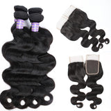 allove indian virgin hair body wave 4 bundles with lace closure