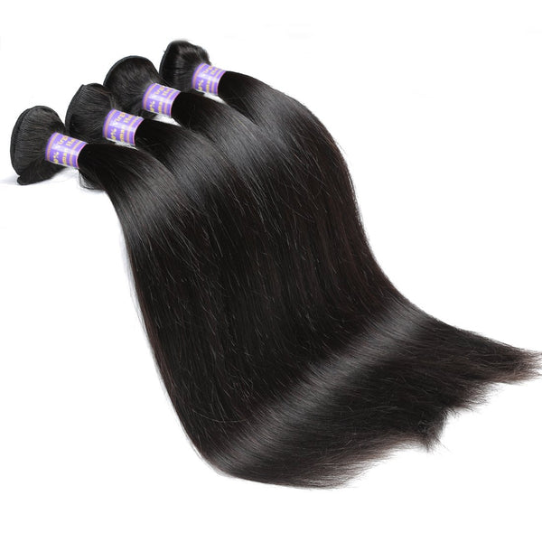 Allove Hair Virgin Indian Straight Hair 4 Bundles With 13*4 Lace Frontal Closure - Easy Hair