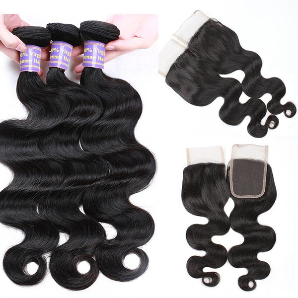Allove Hair Unprocessed Malaysian Body Wave Human Hair 3 Bundles With Lace Closure - Easy Hair