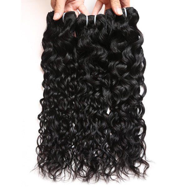 Ishow Hair Virgin Brazilian Water Wave Human Hair 3 Bundles with Lace Closure