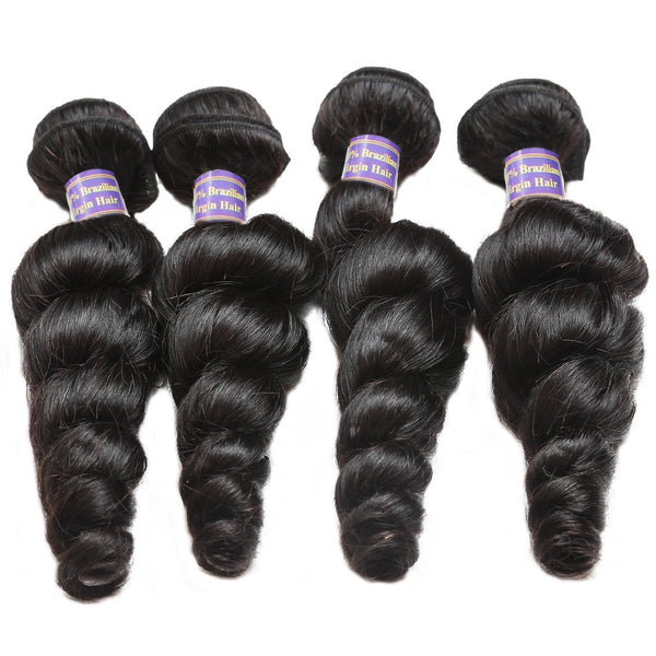 Allove Peruvian Virgin Hair Loose Wave 4 Bundles With Closure Unprocessed Human Hair Bundles