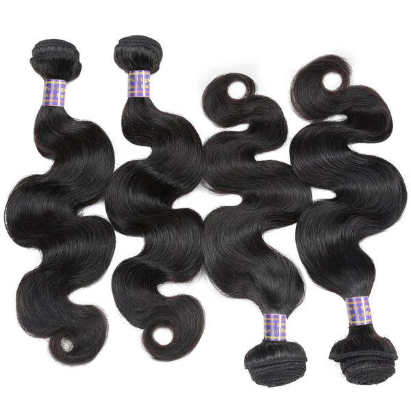 Allove Hair Body Wave Indian Virgin Hair 4 Bundles with 13x4 Lace Frontal