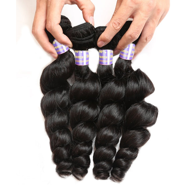 Allove Loose Wave Malaysian Virgin Hair 4 Bundles With 13x4 Lace Frontal Closure - Easy Hair