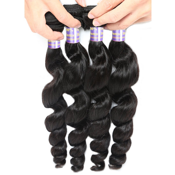 Allove 4 Bundles Malaysian Human Hair Loose Wave 100% Unprocessed Virgin Hair