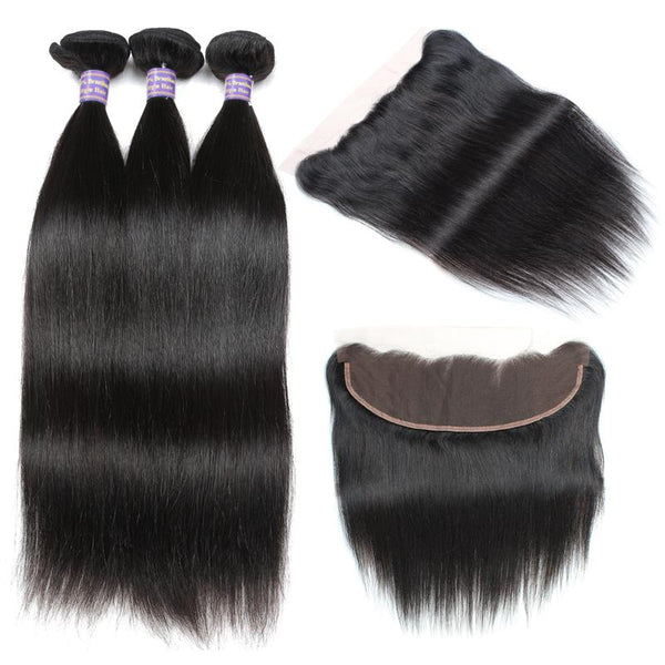 allove malaysian straight virgin hair 3 bundles with 13 4 lace frontal