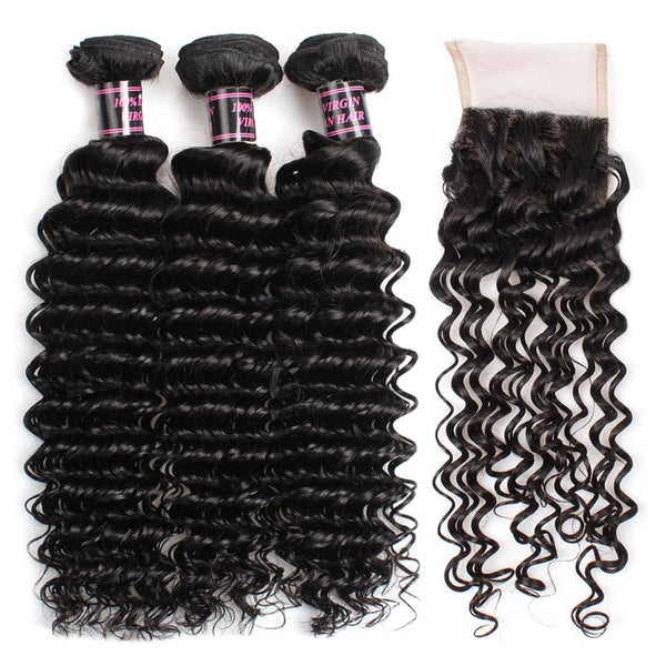 Easy Hair Malaysian Virgin Human Hair Deep Wave 3 Bundles With Lace Closure - Easy Hair