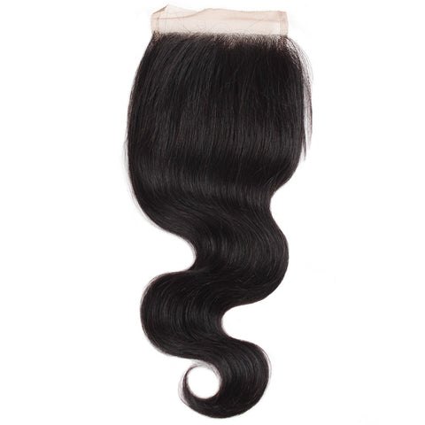 Indian Body Wave Virgin Hair Lace Closure 4x4 Swiss Lace Closure