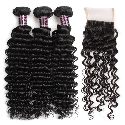 ishow brazilian deep wave virgin hair weave 3 bundles with lace closure