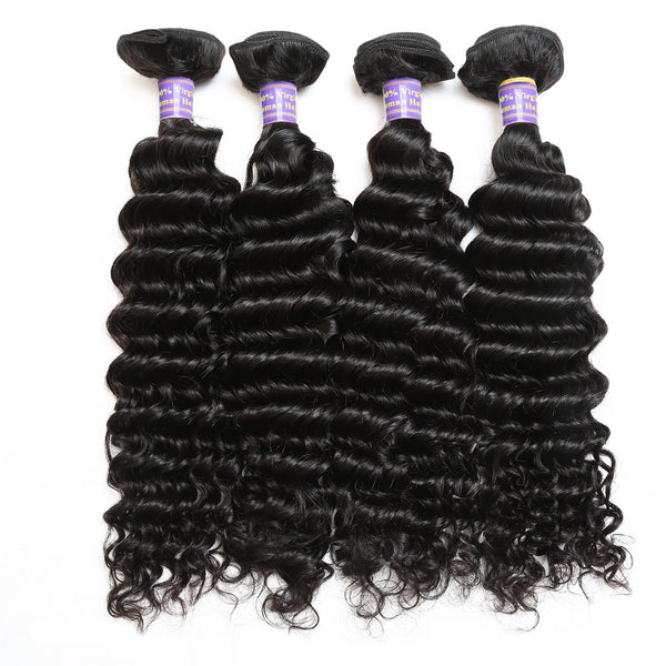 Allove Hot Sell Human Hair Peruvian Deep Wave Virgin Hair Extension 4pcs/lot