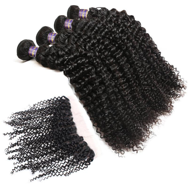 ALLove Brazilian Curly Virgin Hair 3 Bundles With Lace Frontals Closure - Easy Hair