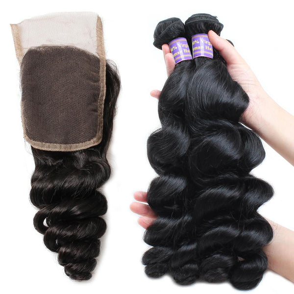 allove brazilian virgin hair loose wave 4 bundles with lace closure