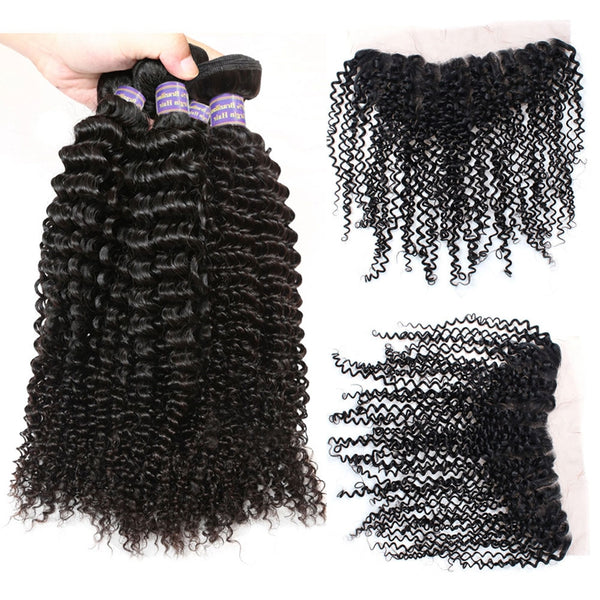 Easy Hair 10A Kinky Curly Peruvian Virgin Human Hair 4 Bundles With 13x4 Lace Frontal Closure - Easy Hair