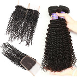 allove indian kinky curly human hair 3 bundles with lace closure