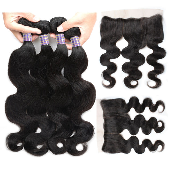 Allove Hair Body Wave Peruvian Virgin Hair 4 Bundles with 13x4 Lace Frontals Closure - Easy Hair