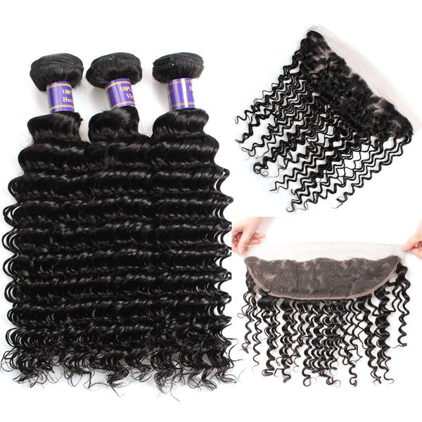 Easy Hair 10A Malaysian Deep Wave Hair 4 Bundles With Lace Frontal Closure Natural Color - Easy Hair