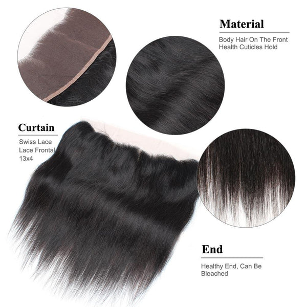 Easy Hair Malaysian Virgin Hair Straight Lace Frontal 13x4 Human Hair - Easy Hair