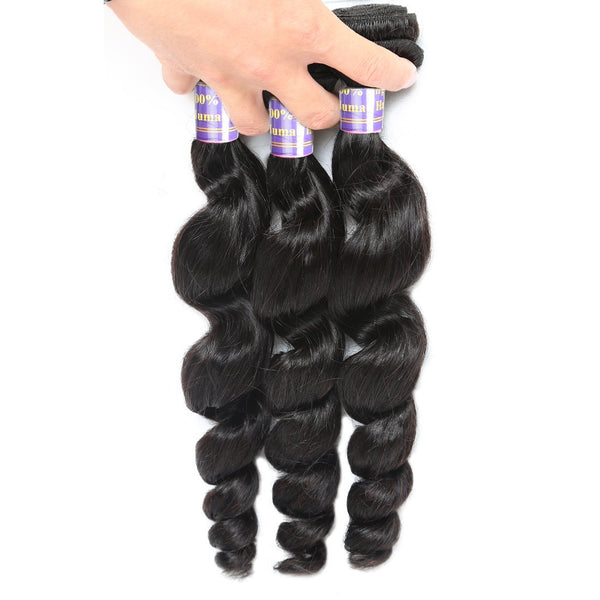 ALLove Indian Loose Wave Virgin Hair 3 Bundles With 13x4 Lace Frontal Closure