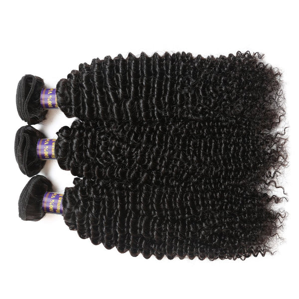 Easy Hair 10A Indian Virgin Curly Hair Weave 3 Bundles With 13x4 Lace Frontal - Easy Hair