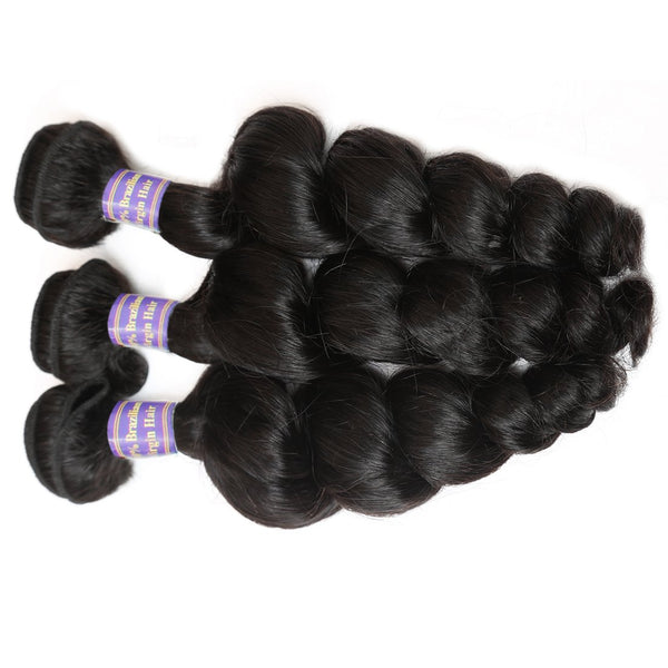 Allove Hair Unprocessed Peruvian Loose Wave Human Hair 3 Bundles With Lace Closure - Easy Hair