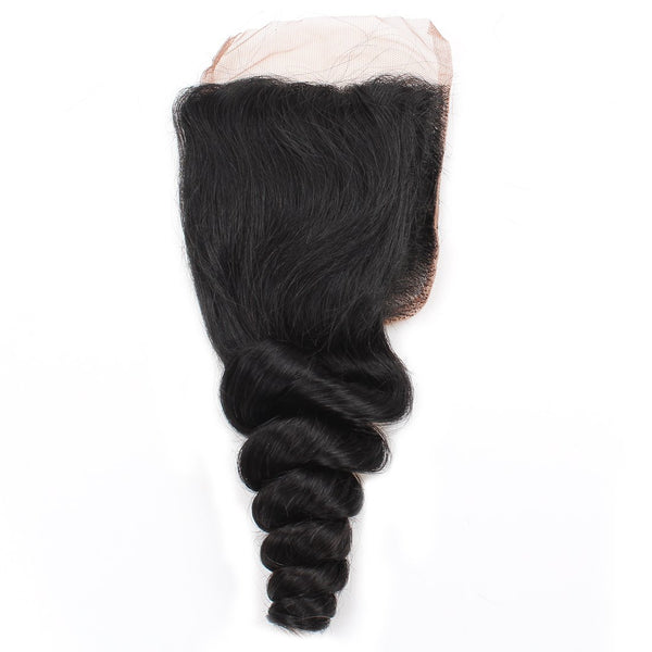 Allove Brazilian Virgin Human Hair Loose Wave 4 Bundles With Closure - Easy Hair