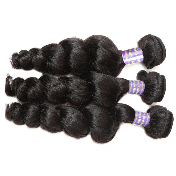 Easy Hair 10A Peruvian Loose Wave Virgin Human Hair 3 Bundles With 1pcs 13x4 Lace Frontal - Easy Hair