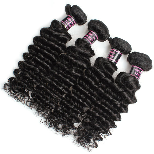 Easy Hair Indian Deep Wave Virgin Hair Deep Wave Human Hair 4 Bundles - Easy Hair
