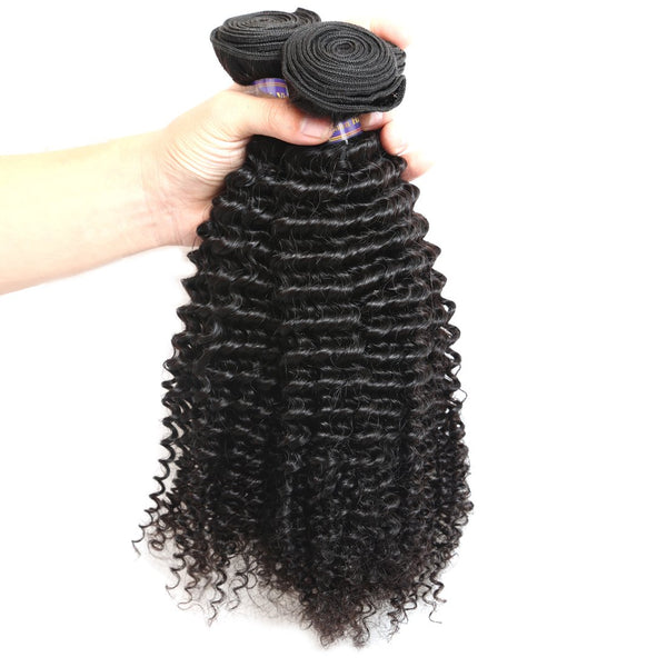 ALLove Malaysian Curly Wave Virgin Hair 3 Bundles With 13x4 Lace Frontal