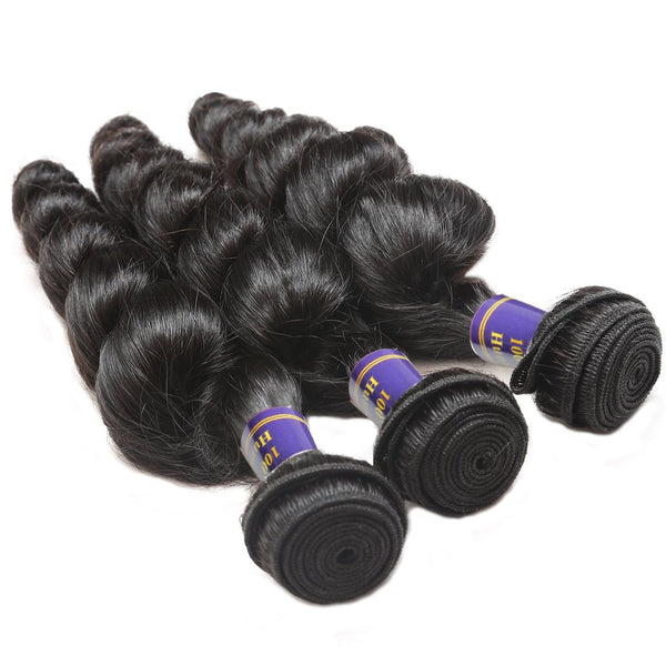 ALLove Brazilian Loose Wave Virgin Hair 3 Bundles With 13x4 Lace Frontal