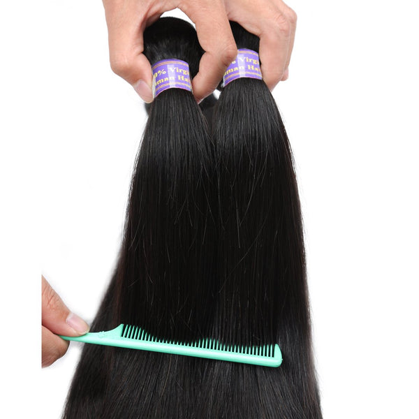 Easy Hair 10A Virgin Brazilian Virgin Hair Straight 4 Bundles With Closure Unprocessed Human Hair Bundles - Easy Hair