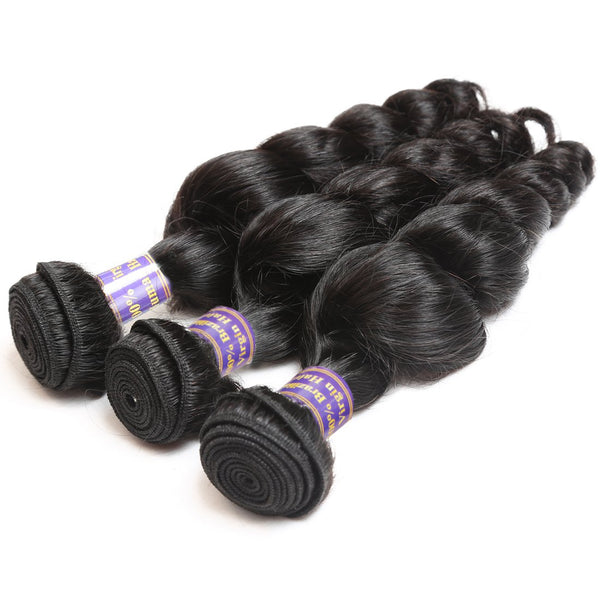 Easy Hair 10A Brazilian Loose Wave Virgin Hair 3 Bundles With 13x4 Lace Frontal - Easy Hair