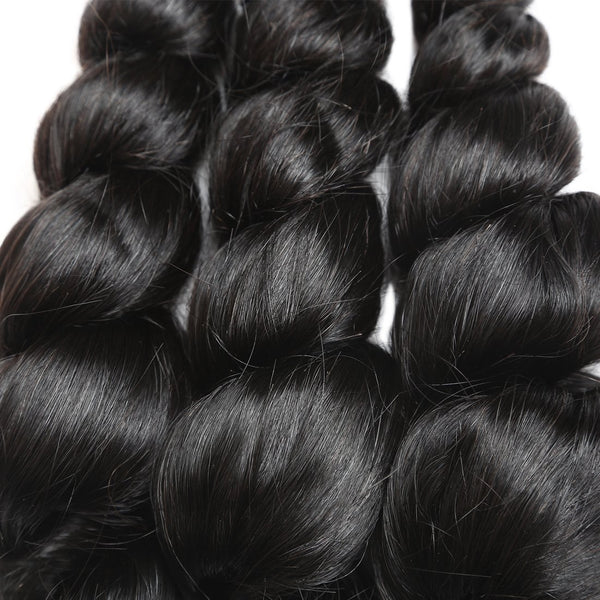 Allove Hair Unprocessed Brazilian Loose Wave Human Hair 3 Bundles With Lace Closure - Easy Hair