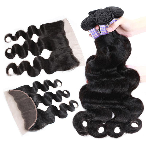 Easy Hair 10A Brazilian Body Wave Virgin Human Hair 3 Bundles With 13x4 Lace Frontal Closure - Easy Hair