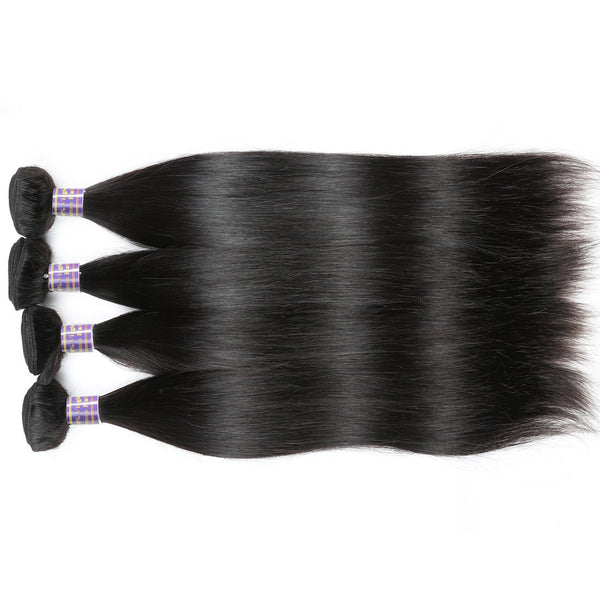 Allove Indian Virgin Hair 4 Bundles Straight Hair Weave 100% Human Hair