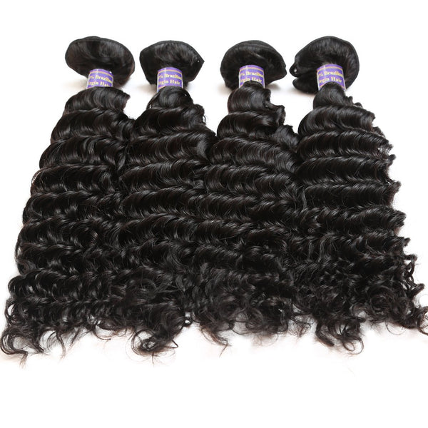 Allove Malaysian Deep Wave Virgin Hair 4 Bundles With Lace Closure - Easy Hair