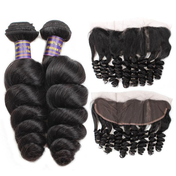allove indian loose wave virgin hair 3 bundles with 13 4 lace frontal