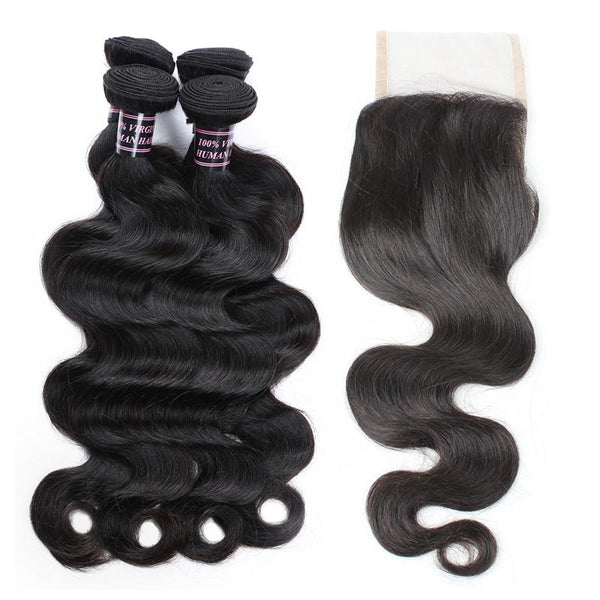 Ishow Hair Indian Virgin Hair Body Wave Bundles 3pcs with Lace Closure