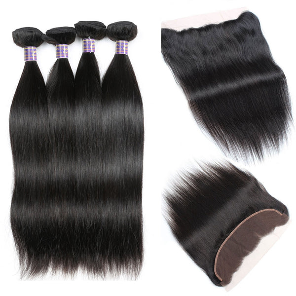 Easy Hair 10A Peruvian Straight Virgin Hair 4 Bundles with 13x4 Lace Frontal - Easy Hair