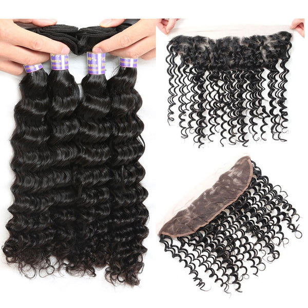 Easy Hair 10A Indian Deep Wave Hair 4 Bundles With Lace Frontal Closure Natural Color - Easy Hair