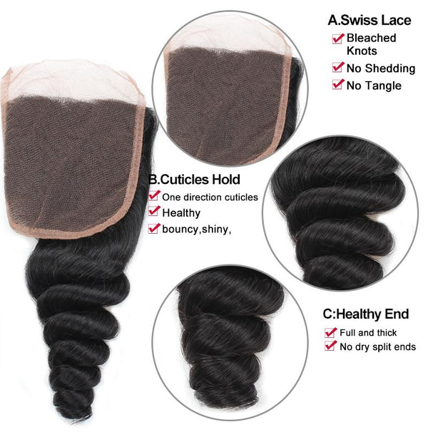 Allove Hair Unprocessed Peruvian Loose Wave Human Hair 3 Bundles with Lace Closure