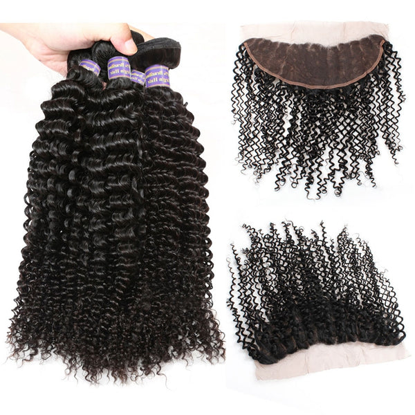 Easy Hair 10A Indian kinky Curly Virgin Human Hair 4 Bundles With 13*4 Lace Frontal Closure - Easy Hair
