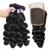 allove peruvian virgin hair loose wave 4 bundles with lace closure