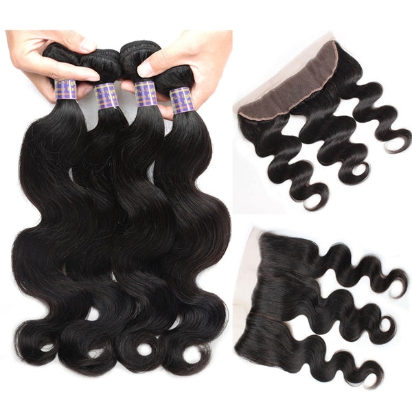 Allove Body Wave Malaysian Virgin Hair 4 Bundles With 13x4 Lace Frontal Closure - Easy Hair