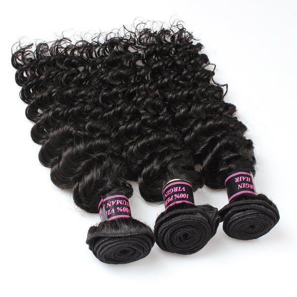 Easy Hair Malaysian Deep Wave 3 Bundles Virgin Human Hair Extensions Natural Color - Easy Hair