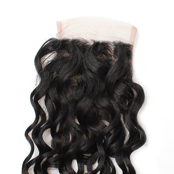 Indian Virgin Human Hair Water Wave Lace Closure 4x4 Swiss Lace Closure